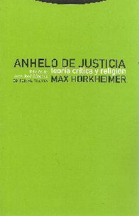 Anhelo de Justicia. Teoría crítica y religión